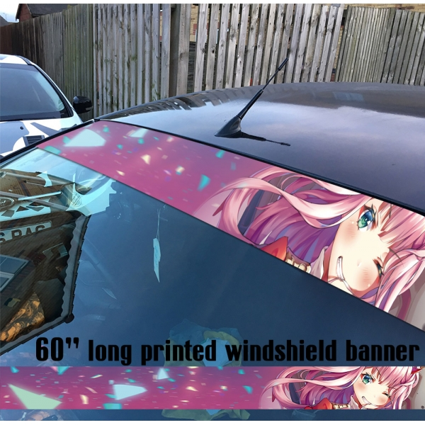 "60"" Darling in the Franxx v7 ゼロツー Zero Two Code 002 Strelizia Sutorerichia Sexy Girl Anime Manga Sun Strip Printed Car Vinyl Sticker Decal>"