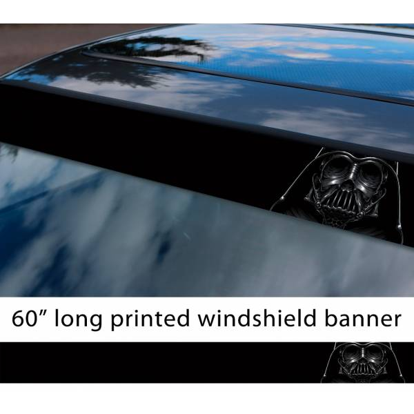 "60"" Darth Vader Skull Galactic Empire Sith Order Star Wars Sun Strip Printed Car Vinyl Sticker Decal"