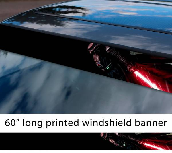 "60"" Darth Vader v2 Lightsaber Galactic Empire Sith Order Star Wars Sun Strip Printed Car Vinyl Sticker Decal"