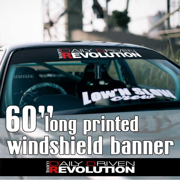 "60"" Daily Driven Revolution Team JDM Low Stance Tuning Rising Japan Sun Strip Printed Windshield Car Vinyl Sticker Decal"