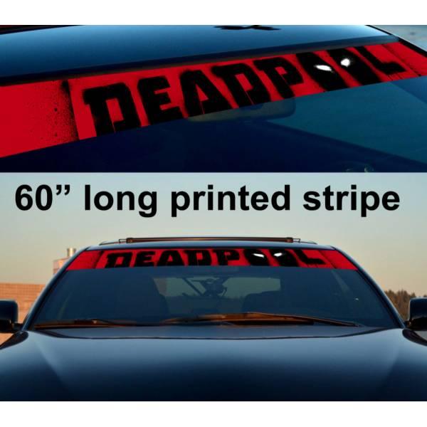 "60"" Deadpool Blood Badass Sun Strip Printed Windshield Car Vinyl Sticker Decal"