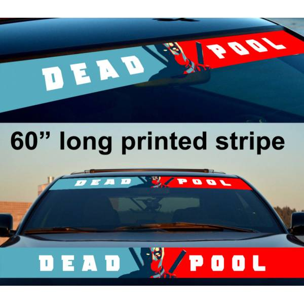"60"" Deadpool Comics Blood Wade Sun Strip Printed Windshield Vinyl Sticker Decal"