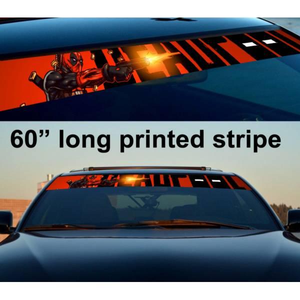 "60"" Deadpool Blood Wade X Sun Strip Printed Windshield Car Vinyl Sticker Decal"