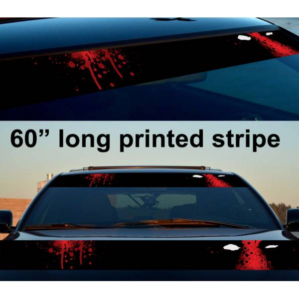 "60"" Wade Wilson Blood Spalsh Sun Strip Printed Windshield Car Vinyl Sticker Decal>"