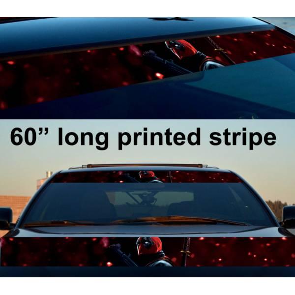 "60"" Deadpool Super Wade X Sun Strip Printed Windshield Car Vinyl Sticker Decal"