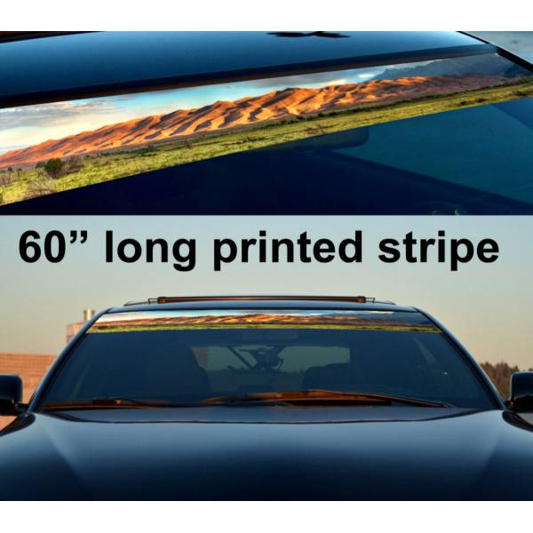 "60"" Desert Sahara v2 Sun Strip Printed Windshield Graphics Vinyl Sticker Decal>"