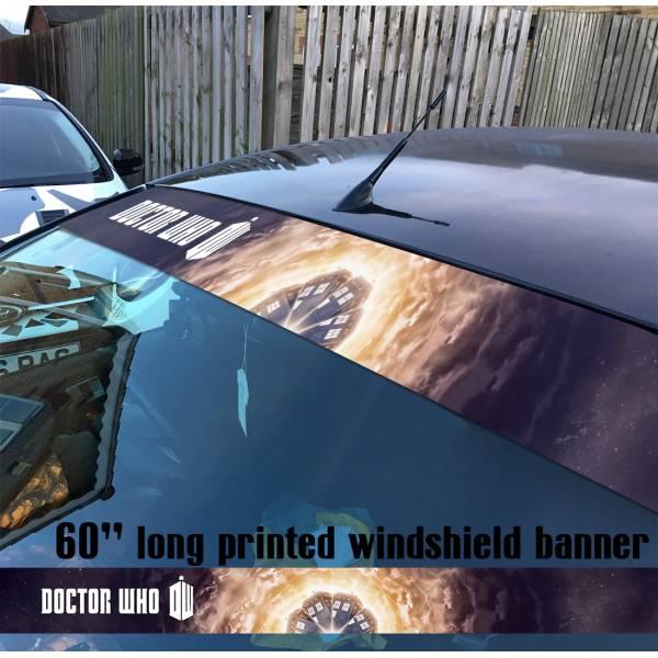 "60"" Doctor Who v1 Police Box TV Show Tardis Dalek Sun Strip Printed Windshield Car Vinyl Sticker Decal"