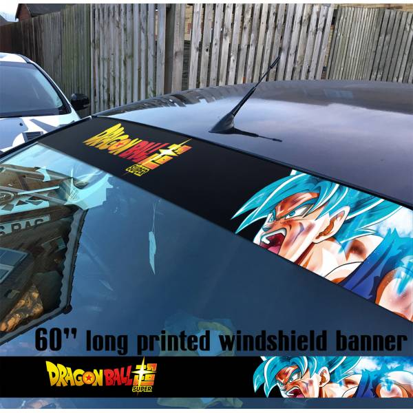 "60"" Dragon v9 Saiyan Super ドラゴンボール Manga Anime Goku Sun Strip Printed Windshield Car Vinyl Sticker Decal>"