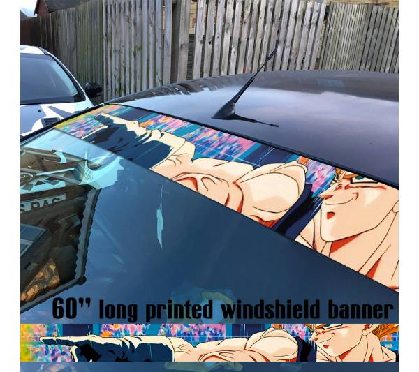 "60"" Dragon Ball v6 Saiyan Super ドラゴンボール Manga Anime Goku Sun Strip Printed Windshield Car Vinyl Sticker Decal"