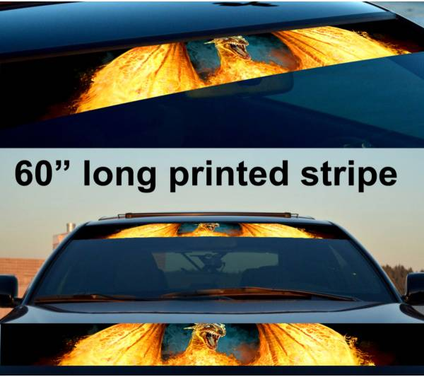 "60"" Flame Dragon Wings Hot Sun Strip Printed Windshield Car Vinyl Sticker Decal"