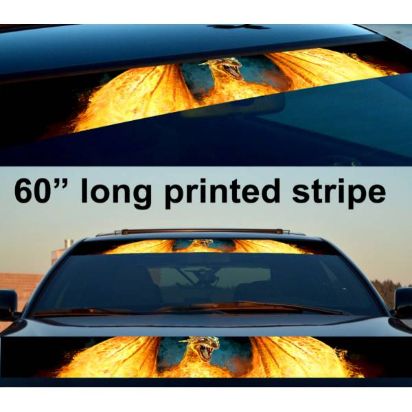 "60"" Flame Dragon Wings Hot Sun Strip Printed Windshield Car Vinyl Sticker Decal>"