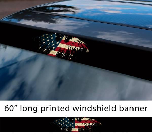 "60"" Eagle Splash USA Flag Star American Distressed Sun Strip Printed Windshield Vinyl Sticker"