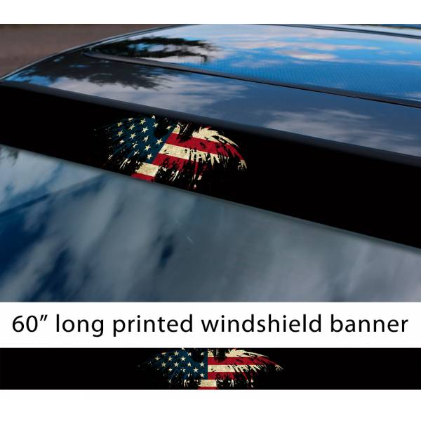 "60"" Eagle Splash USA Flag Star American Distressed Sun Strip Printed Windshield Vinyl Sticker"