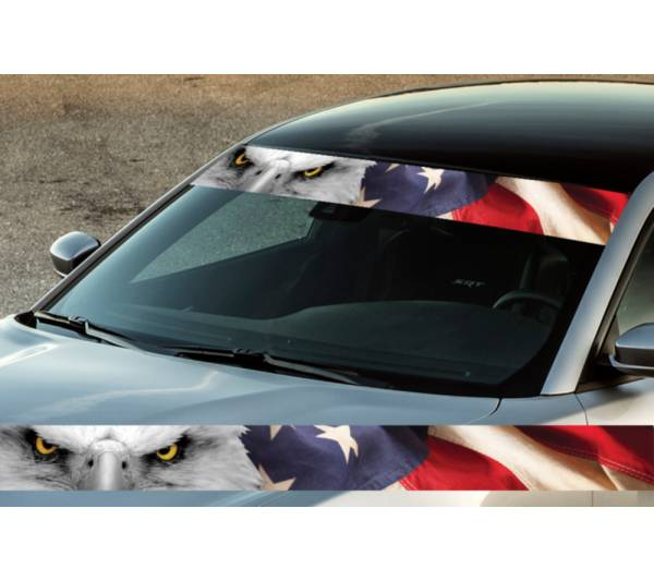 "60"" USA Eagle Flag Star Printed Windshield Banner Wrap Vinyl Sticker Car Truck"