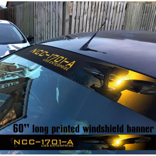 "60"" Star Trek v1 USS Enterprise Ship NCC 1701 A Sun Strip Printed Windshield Car Vinyl Sticker Decal"