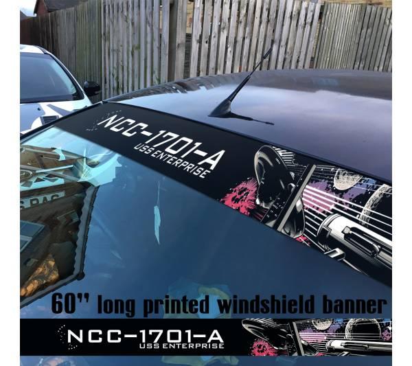 "60"" Star Trek v2 USS Enterprise Ship NCC 1701 A Sun Strip Printed Windshield Car Vinyl Sticker Decal"