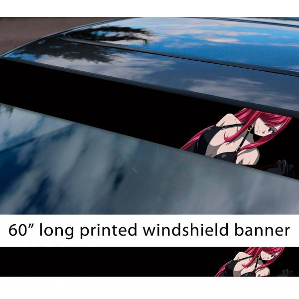 "60"" Fairy Tail Erza Scarlet Sexy Hot Boobs Ass v2 Anime Manga  Sun Strip Printed Windshield Car Vinyl Sticker Decal"