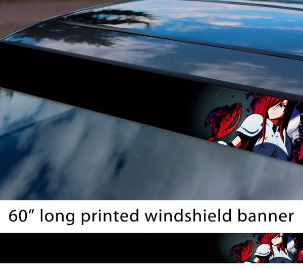 "60"" Fairy Tail Erza Scarlet Sexy Hot Boobs Ass v4 Anime Manga  Sun Strip Printed Windshield Car Vinyl Sticker Decal"
