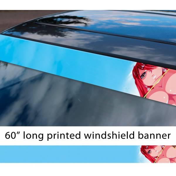 "60"" Fairy Tail Erza Scarlet Sexy Hot Boobs Ass v8 Anime Manga  Sun Strip Printed Windshield Car Vinyl Sticker Decal"