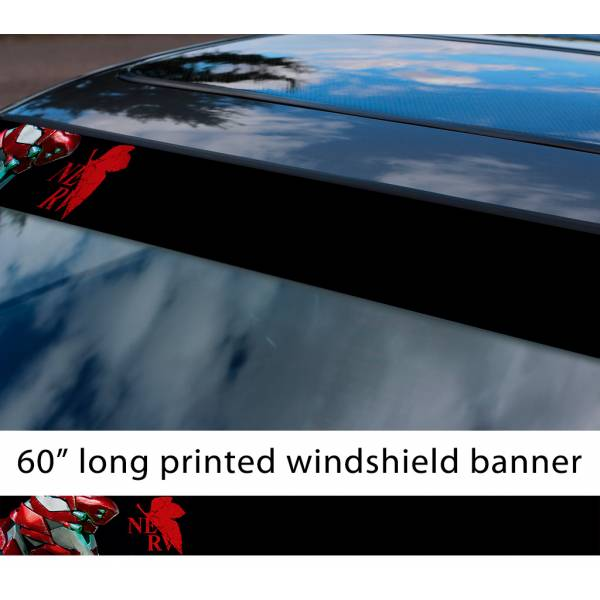 "60"" Eva Unit 02 Asuka Langley Soryu v1 Evangelion Neon Genesis Angel NERV Anime Manga Sun Strip Printed Windshield Vinyl Sticker"