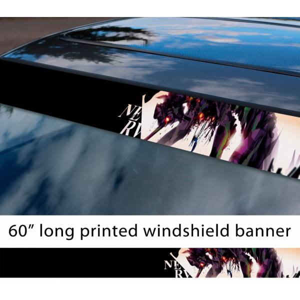 "60"" Eva Unit 01 Shinji Ikari v3 Evangelion Neon Genesis Lilith Angel NERV Anime Manga Sun Strip Printed Windshield Vinyl Sticker"