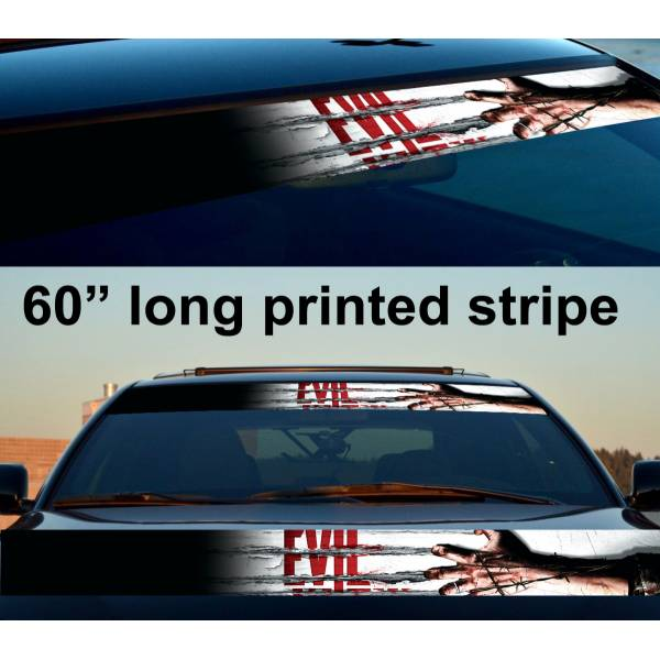 "60"" Zombie Dead Evil Hand Sun Strip Printed Windshield Car Vinyl Sticker Decal"