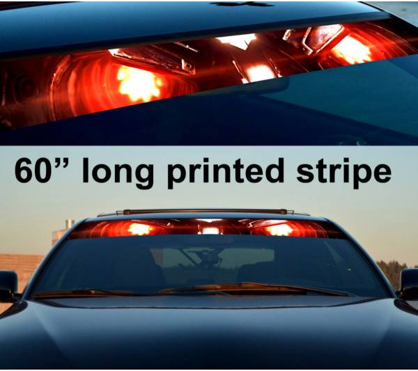 "60"" Fire Flame Eyes Soldier Sun Strip Printed Windshield Car Vinyl Sticker Decal"