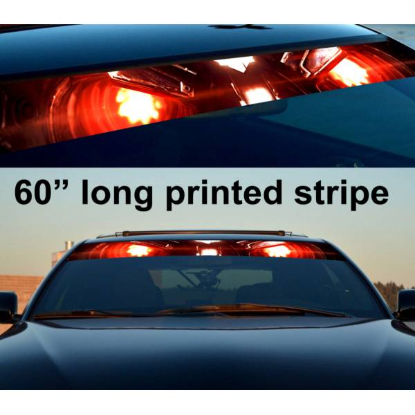 "60"" Fire Flame Eyes Soldier Sun Strip Printed Windshield Car Vinyl Sticker Decal>"