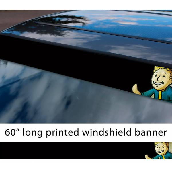 "60"" Fallout Game Pip Boy Nuclear War Vault Tec Nuka Cola Sun Strip Printed Windshield Car Vinyl Sticker Decal"