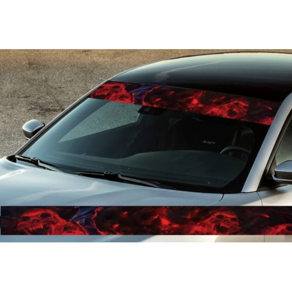 "60"" Hell Skulls Flame Scream Printed Windshield Banner Wrap Vinyl Sticker Car Truck"