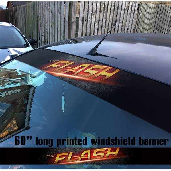 "60"" The Flash Logo V1 Superhero DC Comics Strip Printed Windshield Car Vinyl Sticker Decal"