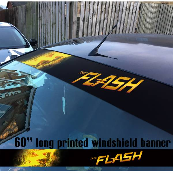 "60"" The Flash Logo V2 Superhero DC Comics Strip Printed Windshield Car Vinyl Sticker Decal"