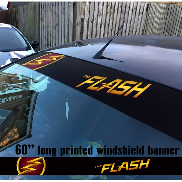 "60"" The Flash Logo V3 Superhero DC Comics Strip Printed Windshield Car Vinyl Sticker Decal"