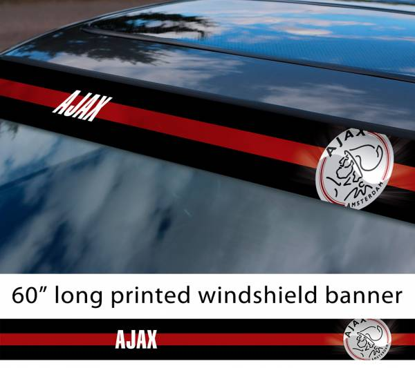 "60"" Ajax Amsterdam Logo FC Eredivisie Football Sun Strip Printed Windshield Car Vinyl Sticker Decal"