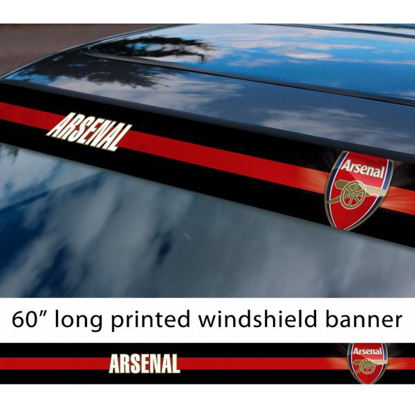 "60"" Arsenal FC Logo Premier League Football Sun Strip Printed Windshield Car Vinyl Sticker Decal"