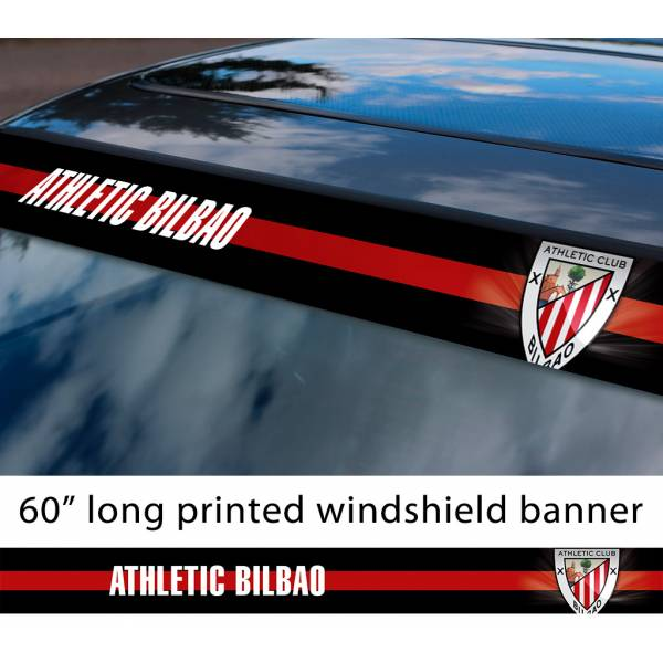 "60"" Athletic Bilbao FC Logo La Liga Spanish Football Sun Strip Printed Windshield Car Vinyl Sticker Decal"