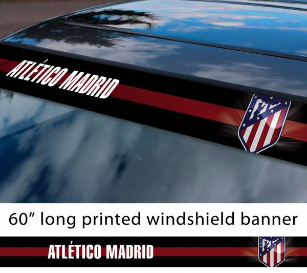 "60"" Atlético Madrid FC Logo La Liga Spanish Football Sun Strip Printed Windshield Car Vinyl Sticker Decal"