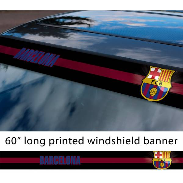 "60"" Barcelona Barca Leo Messi FC Logo La Liga Spanish Football Sun Strip Printed Windshield Car Vinyl Sticker Decal"