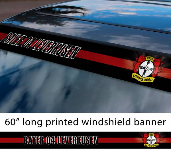 "60"" Bayer 04 Leverkusen FC Logo Bundesliga Football Sun Strip Printed Windshield Car Vinyl Sticker Decal"