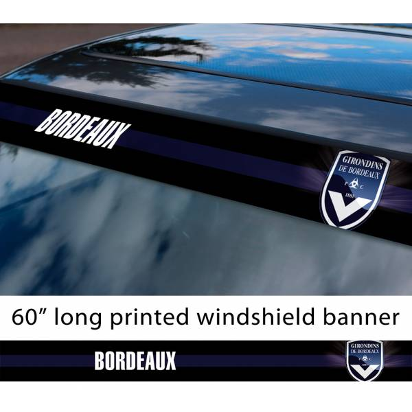"60"" Girondins de Bordeaux FC Logo France Ligue 1 One Football Sun Strip Printed Windshield Car Vinyl Sticker Decal"