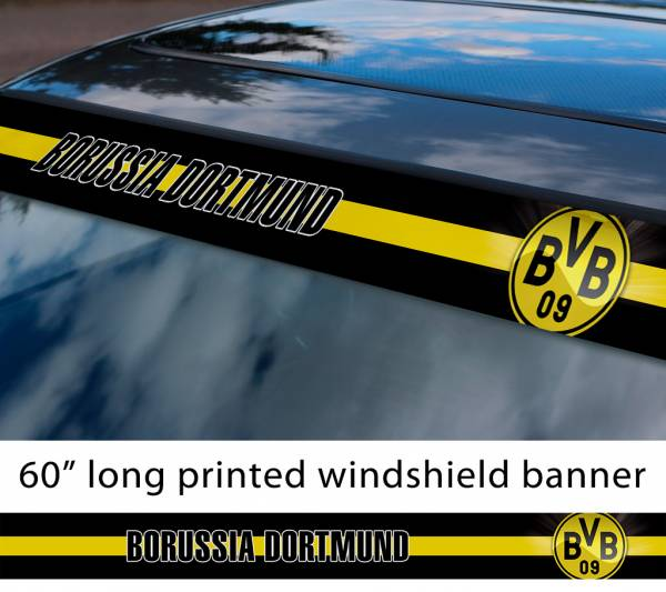 "60"" Borussia Dortmund FC Logo Bundesliga Football Sun Strip Printed Windshield Car Vinyl Sticker Decal"
