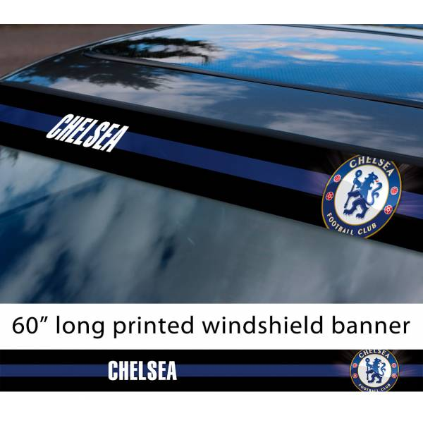 "60"" Chelsea FC Logo Premier League Football Sun Strip Printed Windshield Car Vinyl Sticker Decal"