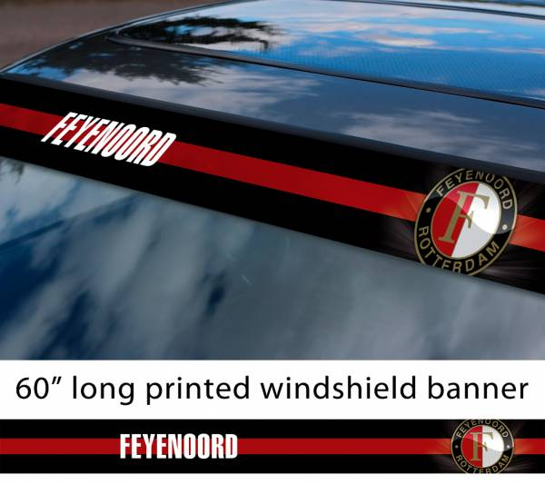 "60"" Feyenoord Rotterdam Logo FC Eredivisie Football Sun Strip Printed Windshield Car Vinyl Sticker Decal"