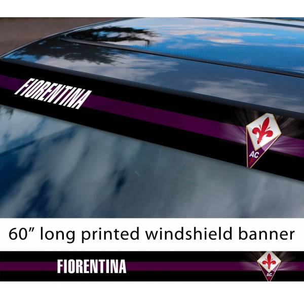 "60"" ACF Fiorentina FC Logo Italian Serie A Football Sun Strip Printed Windshield Car Vinyl Sticker Decal"