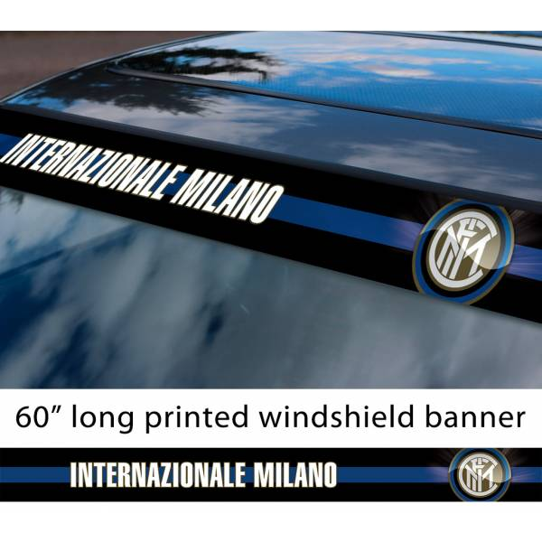 "60"" Inter Milan Internazionale FC Logo Italian Serie A Football Sun Strip Printed Windshield Car Vinyl Sticker Decal"