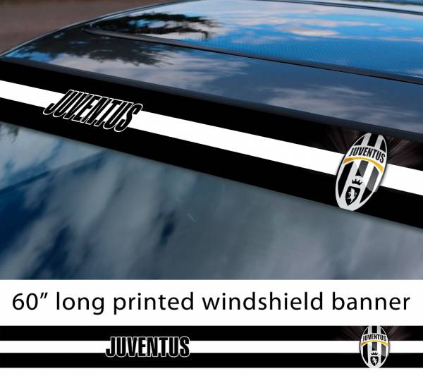 "60"" Juventus Juve Torino FC Logo Italian Serie A Football Sun Strip Printed Windshield Car Vinyl Sticker Decal"