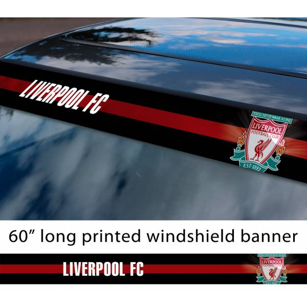 "60"" Liverpool Red LFC YNWA Anfield Gerrard FC Logo Premier League Football Sun Strip Printed Windshield Car Vinyl Sticker Decal"