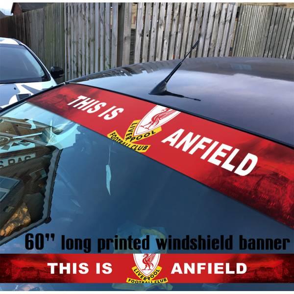 "60"" Liverpool FC LFC YNWA v2 Premier League Merseyside Reds Anfield Football Sun Strip Printed Windshield Car Vinyl Sticker Decal"