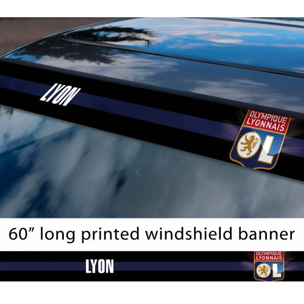 "60"" Lyon Olympique Lyonnais FC Logo France Ligue 1 One Football Sun Strip Printed Windshield Car Vinyl Sticker Decal"