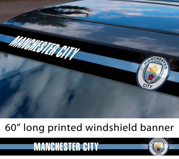"60"" Manchester City Man FC Logo Premier League Football Sun Strip Printed Windshield Car Vinyl Sticker Decal"